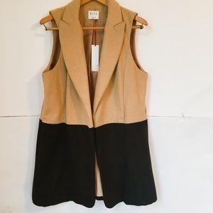 Elle open front color block vest wool blend